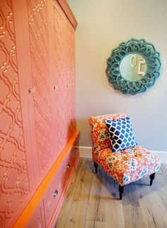 interior design by Lindy Allen of Four Chairs Furniture. Interior designer Kelsey Wells of The Wells Collection via House of Turquoise Painted Drawers, Painted Mirrors, Locker Designs, House Of Turquoise, Dining Nook, Parade Of Homes, New Home Designs, Blue Bedroom, Home Staging