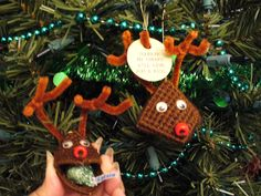 """Reindeer - Plastic canvas, yarn, and pipe cleaners make for a fun handmade Christmas ornament. The tag says """"Squeeze my cheeks I'll give you a kiss"""". Inside is a Hershey kiss. I found this pattern in an old craft magazine from the late 1980's. CAyers - #ornaments"""