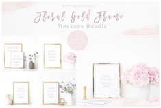 Floral Gold Frame Mockup Bundle by White Nova Studio on @creativemarket
