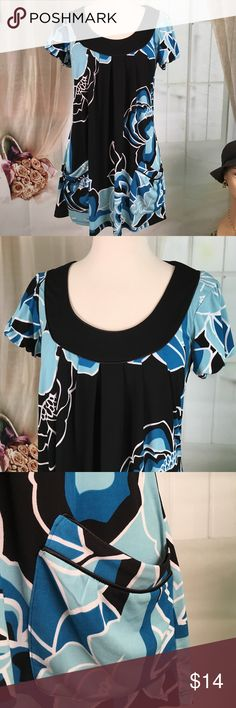 "INC International Concepts Multi Colored Dress Today, featuring in Kaki Jo's closet is this super cute casual dress in shades of blue and black.  A little elastic at the sleeves to make it puffy.  Pockets in the front.  New condition.  Size M.  Bust is 34 and length is 29"". INC International Concepts Dresses"
