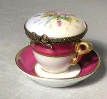 Tea Cup Box & Saucer,Nr.130, Limoges Boxes