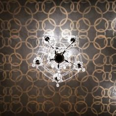 Modern Masters Metallic Paint Stenciled on Ceiling by M&M Bender | Roundabout Stencil by Wallovers | Modern Mastery Feature on Cafe Blog
