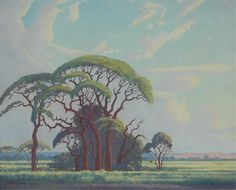 Bosveld bome, N.Transvaal -JH Pierneef Art Painting, Summer Art, Landscape Artist, Poster Art, Landscape Illustration, South African Art, Tree Drawing, South Africa Art, Landscape Art