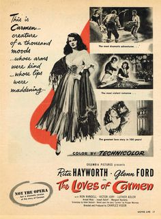 The Loves Of Carmen poster, starring Rita Hayworth & Glenn Ford, 1948.