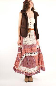 Bohemian Hand Crochet Maxi Skirt, Knit skirt, Spring maxi skirt, Festival cotton…