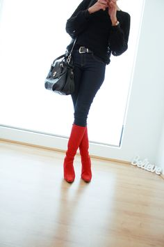http://fancy.to/rm/465653911974316125   Red boots outfit. #style