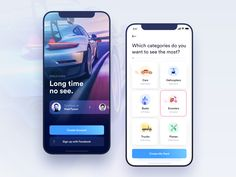 Car Rental App – Welcome and Onboarding screens car design ios creative clean mobile mobile app icon illustaration ux ui - Ios App Design, Ui Design Mobile, Web Design, Flat Design, Mobile App Icon, Mobile Mobile, Design Thinking, Apps, Ui Ux Designer