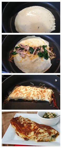 Cheese Crusted Chicken Spinach Crepe Recipe!  I love the light crunch you get from the cheese crust!  SO YUMMY!