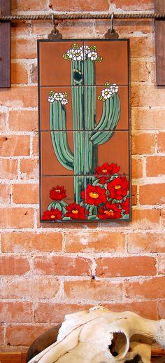 For the hacienda wall. Hand Glazed Saguaro Cactus Ceramic Tile Mural