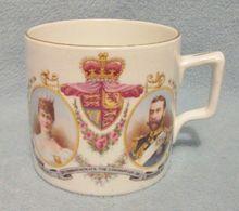 Antique 1911 King George V Coronation Commemorative Mug - Lovely Detailing, Bone China - Quality