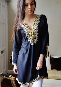 Black with Gold Embroidery Tunic – Maison De Marrakech