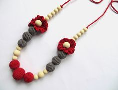 Red & grey crochet necklace Organic boho necklace Crochet nursing necklace Crochet teething necklace  Babywearing necklace Mommy necklace