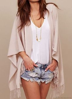 denim shorts + beige fringe poncho                                                                                                                                                      More