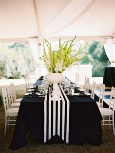 Black and White Striped Wedding! My Wedding: Black and white striped tablescape -- I like the way the runner is shaped at the lower edge.My Wedding: Black and white striped tablescape -- I like the way the runner is shaped at the lower edge. Mod Wedding, Wedding Table, Trendy Wedding, Preppy Wedding Ideas, Black Tablecloth Wedding, Black And White Tablecloth, Reception Table, Wedding Cakes, Black White Parties