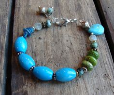 Turquoise and Green Beaded Bracelet by lstaubin on Etsy, $22.00