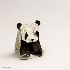 Panda by Origami Redpaper (Seo Won Seon): Origami, Paper Art, Panda, Lion Sculpture, Statue, Crafts, Seo, Google Search, Awesome
