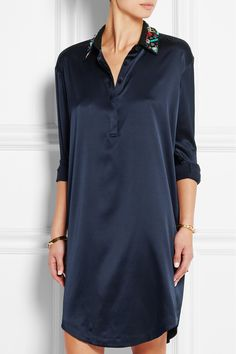 DKNY | Embellished stretch-silk satin shirt dress | NET-A-PORTER.COM