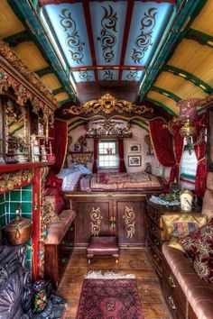 gypsy caravan interior...Special cars need special Insurance coverage that's #affordable...Brought to you by #HouseofInsurance #EugeneOregon