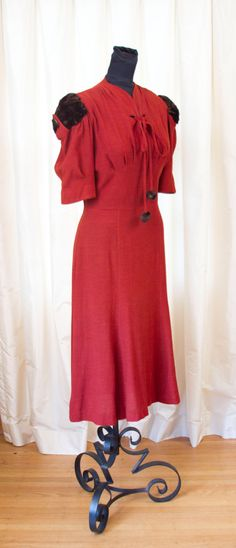 1930's Dress // Red Rust Wool Dress with Fur Puff Sleeves by Ellen Kaye. $355.00, via Etsy.