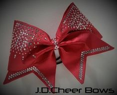 JDCB Luxery Line ~ 2, (20 Colors), Fabric Cheer Bow, Hand sewn Cheer Bows, Crystallized Bows, Satin Cheer Bows
