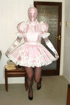 """hexthings: """" No face, no name, no identity at all. Merely a satin sissy maid who serves Mistress """" Sissy Maids, Prissy Sissy, Sissy Boy, Feminized Husband, Petticoated Boys, Brolita, Pink Images, No Name, Crossdressers"""