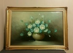 details about robert cox oil painting on canvas 36x24 blue roses in vase ornate gold frame