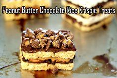 Peanut Butter Chocolate Rice Krispies Treats  #scotcharoos