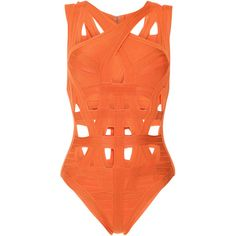 Herve Leger Cross Front Bandage One Piece Swimsuit (1,160 CAD) ❤ liked on Polyvore featuring swimwear, one-piece swimsuits, herve leger swimsuit, bandage swimwear, one-piece swimwear, one piece swim wear and bandage swimsuit