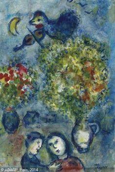 Les deux bouquets.  Oil on canvas. ca 1960.