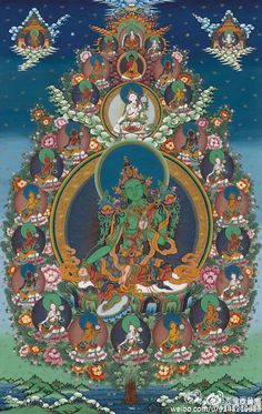 Tibetan Buddhist Thangka of the 21 Taras with Green Tara in the Center