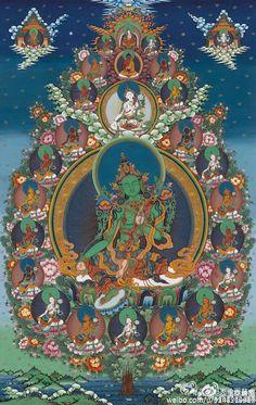 Blue tara tara pinterest buddhist art divine feminine and tibetan buddhist thangka of the 21 taras with green tara in the center fandeluxe Images
