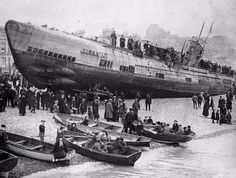 Incredible Vintage Photos of German Submarine U-118 Washed Ashore on the Beach at Hastings, 1919