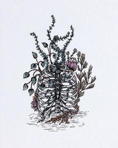Rib Cage flower pot all finished. Should I make a similar piece in embroidery work? ... #illustrator #illustration #artwork #art #drawing #pen #annarack #annajanesearle #pot #plants #houseplants #botanical #human #skeleton #ribcage #foliage #floral #art #