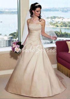 Robe de Mariée Bustier-Soutien gorge Belle robe de mariée en satin de fuite