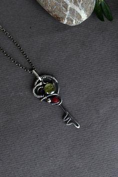 Silver Key pendant Wire wrapped key pendant by ChervoniKoraliArt
