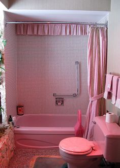 This Pink Bathroom But Like The Idea Of Valance In Back