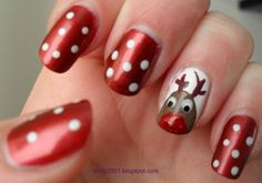 Complicated | Rudolphs red nose shines perfectly in this wonderful nail design. You may need a little bit of time for this, but worth it.