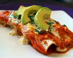 Sweet Potato and black been enchilada's. A delicious and healthy vegitarian mexican dinner!