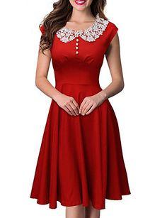 Women's Lace Round Collar Solid Color Plus Size Big Swing Hem Sleeveless Dress 4476395 2016 – $17.99