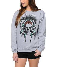 Feel the soft fleece comfort of the Empyre Made Of Skull heather grey crew neck sweatshirt and you'll be hooked. A stylish heather grey colorway works with any outfit with a teal and red detailed skull and headdress screen print chest graphic to give the
