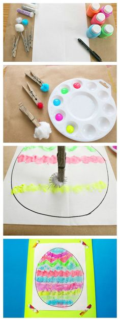 Fine Motor PomPom Painting Easter Eggs is part of Kids Crafts Paint Easter Eggs This Pom Pom Painted Easter Egg activity is a fun way to get in some fine motor practice with the kids, and to explore - Easter Craft Activities, Easter Crafts, Crafts For Kids, Easter Ideas, Spring Activities, Motor Activities, Infant Activities, Preschool Ideas, Toddler Crafts