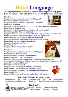 Hotel Language worksheet - Free ESL printable worksheets made by teachers English Sentences, English Phrases, English Words, English Vocabulary, English Grammar, English Learning Spoken, English Language Learning, Teaching English, English For Tourism