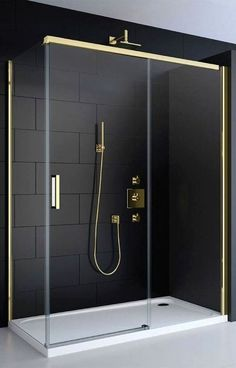 Instantly create a refined, opulent look with a black and gold wet room shower enclosure. Instantly create a refined, opulent look with a black and gold wet room shower enclosure. Minimalist Bathroom, Modern Bathroom, Small Bathroom, White Bathrooms, Contemporary Bathrooms, Masculine Bathroom, Neutral Bathroom, Basement Bathroom, Bad Inspiration
