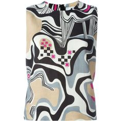 MSGM Abstract Print Tank Top (475 AUD) ❤ liked on Polyvore featuring tops, colorful tops, linen tank, multi color tops, linen tank top and linen tops