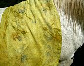 Eco Dyed Fine Linen Scarf Green with Eco prints of Maple Leaves  Natural Dye