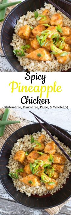 A quick and healthy chicken dish that is full of sweet and spicy flavor. Serve this spicy pineapple chicken over cauliflower rice for a delicious and healthy meal! {Gluten-free, Dairy-free, Paleo, & Whole30}