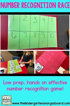 Today I want to share a super easy, low prep, quick number recognition activity that we call the Number Recognition Race! Who doesn't love easy, quick and low prep? Number Games Kindergarten, Teaching Numbers, Numbers Preschool, Math Numbers, Preschool Math, Teaching Kindergarten, Math Activities, Maths, Kindergarten Centers
