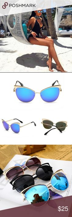 Blue Mirrored Cateye Sunglasses Hottest Trend Brand new and top quality. 400 UV Protection. Accessories Sunglasses