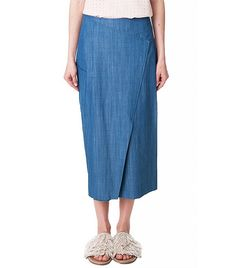 Tibi Rigid Denim Paneled Long Skirt
