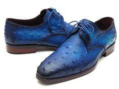 Paul Parkman Men's Ocean Color Genuine Ostrich Derby Shoes (ID by Men's Designer Shoes Mode Masculine, Suede Shoes, Shoe Boots, Leather Sandals, Mode Pro, Bordeaux, Gentleman Shoes, Mens Designer Shoes, Fashionable Snow Boots